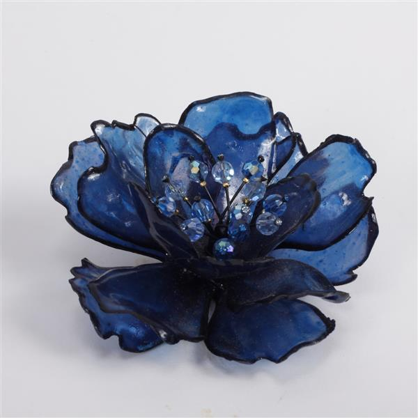 Large Unmarked Vendome? Vintage Modern Designer Blue Acrylic Resin Flower Brooch Pin with beaded center.