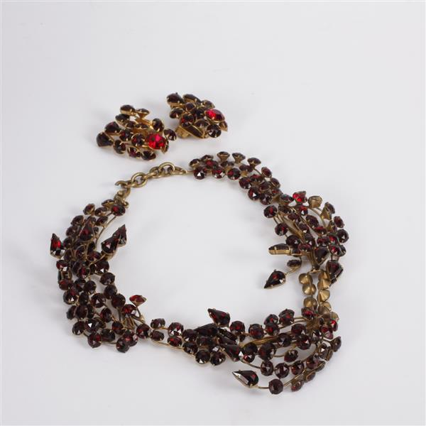 Vintage Retro 1930s Art Deco Hand Wrought Brass Wire Ruby Red Jewel Spray Necklace & Clip Earrings.