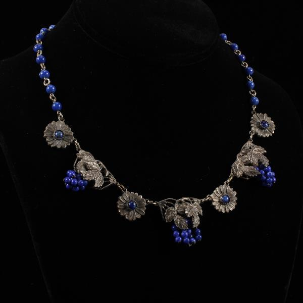 Art Deco Layered Silver Grape Leaf Bunch & Flower link necklace with Lapis colored glass beads.
