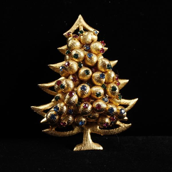 Hattie Carnegie Gilt Christmas Tree Brooch Pin with green, blue, & pink jewels.