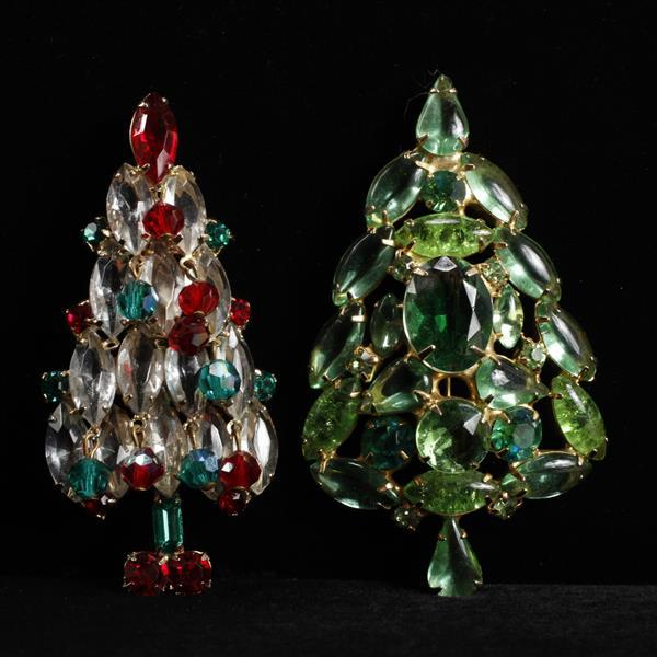 Lot of 2 Jeweled Christmas Tree Brooch Pins
