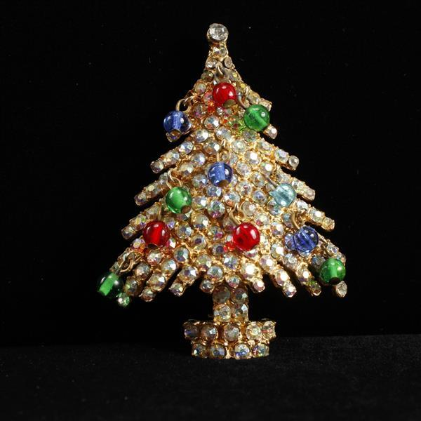 Kramer Pave Christmas Tree Brooch Pin