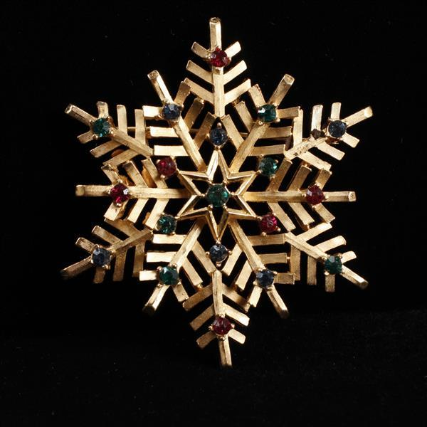Trifari Gilt Snowflake Brooch Pin with Blue, Green, & Red jewels.