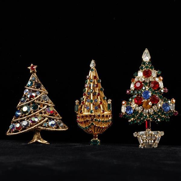 Lot of 3 Christmas Tree Brooch Pins