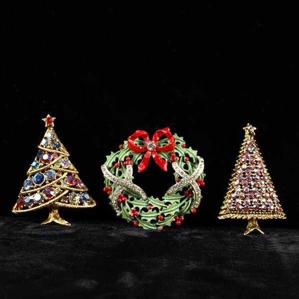 Lot of 3 Holiday Christmas Brooch Pins