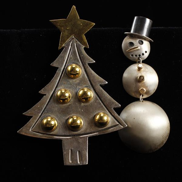 Sterling 2pc. Modernist Christmas Tree & Snowman Brooch Pins