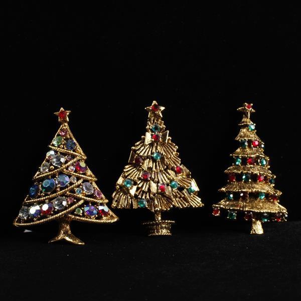 Hollycraft 3pc. Christmas Tree Brooch Pins