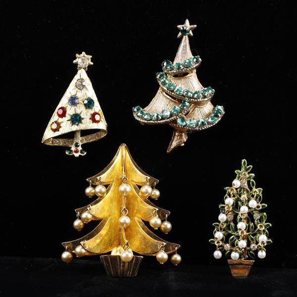 Lot of 4 Christmas Tree Brooch Pins / Fur Clip