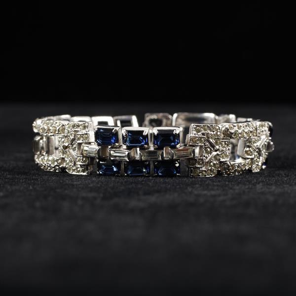 KTF Trifari Art Deco Pave & Blue Rhinestone Diamante Jeweled Bracelet