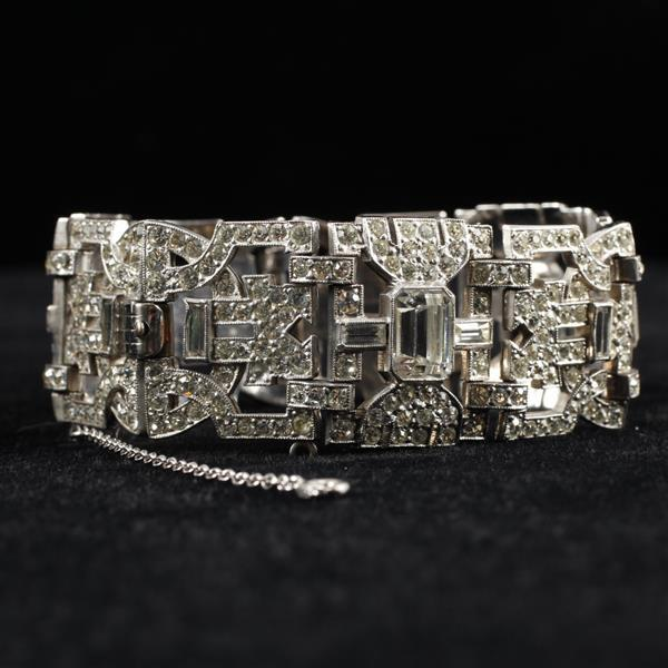 EB Art Deco Colorless Crystal Diamante Rhinestone Rhodium Plated Bracelet; Chinese / Asian inspired motif.