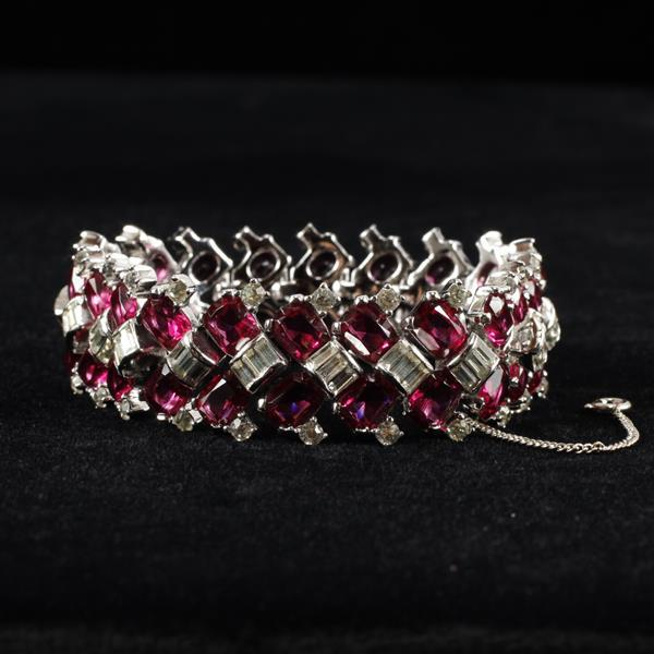 Jomaz Art Deco Diamante Bracelet with Clear & Pink rhinestones.