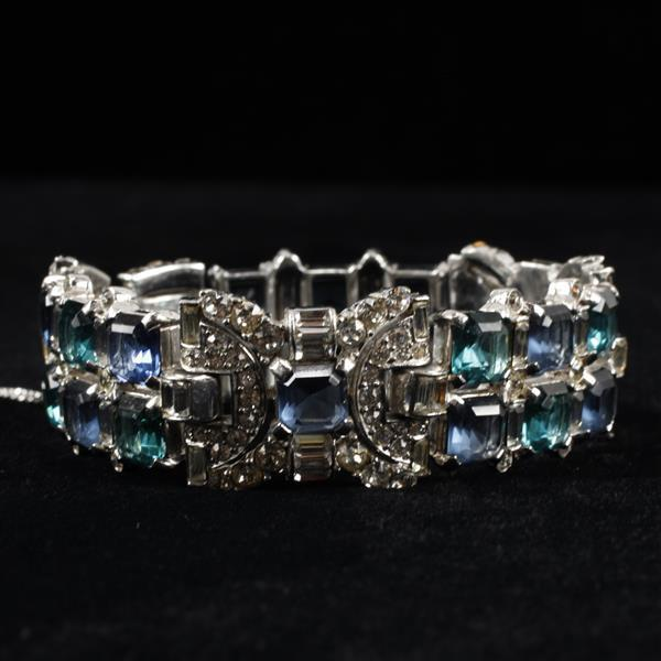Art Deco Unmarked Rhodium Plated Diamante Bracelet with Blue & Green square cut crystal jewels.