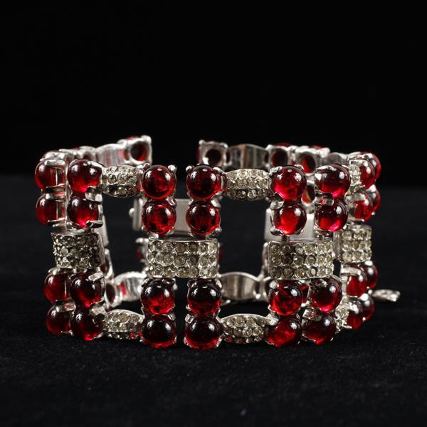 Art Deco Unmarked Pave & Ruby Red Poured Glass Cabochon Bracelet