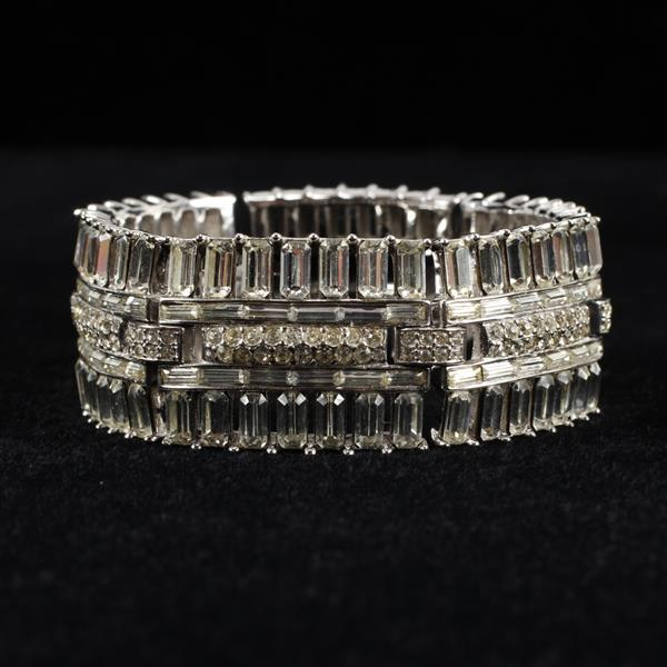 Trifari Art Deco Wide Colorless Crystal Diamante and Rhinestone link Bracelet