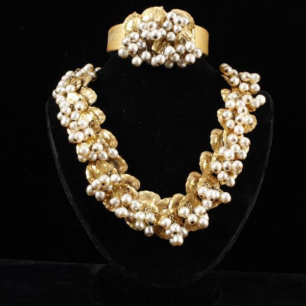 Miriam Haskell 2pc. Faux Pearl Fruit & Gilt Leaves Necklace & Hinge Bracelet