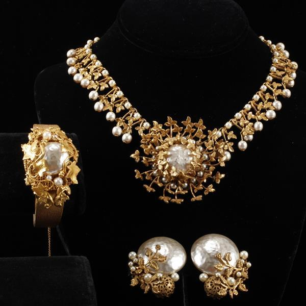 Miriam Haskell 3pc. Set; Gilt Leaves & Faux Pearl Necklace, Bracelet, & Clip Earrings