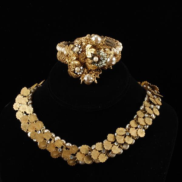 Miriam Haskell 2pc. Gilt Leaves & Faux Pearl Necklace & Bracelet