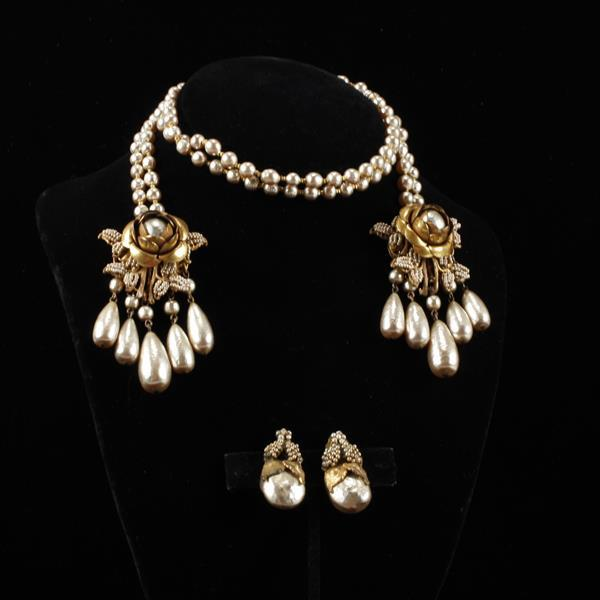 Miriam Haskell 2pc. Gilt Flower Faux Pearl Wrap Necklace & Clip Earrings