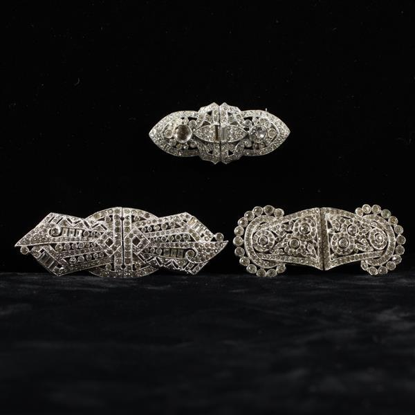 Art Deco 3pc. Colorless Crystal Diamante Duette Clip Brooches; 2 marked Coro Duette.
