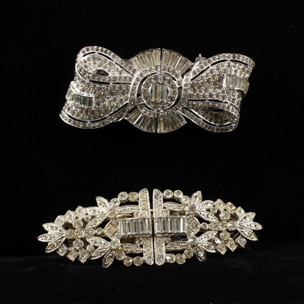 Two Unmarked Art Deco Colorless Crystal Diamante Duette Brooch Clips