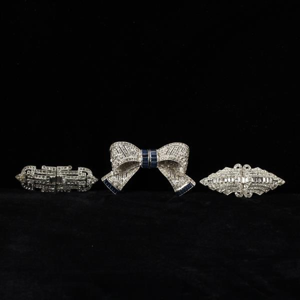 Coro Art Deco Duette 3pc.; Diamante Brooch Clips including Bow with blue rhinestones