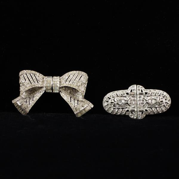 Coro Art Deco Duette 2pc.; Colorless Crystal Diamante Brooch Clips incl. a Bow pin