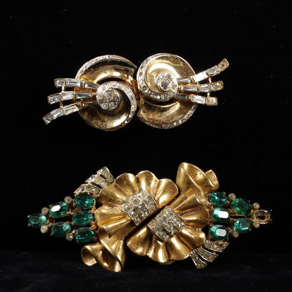 Two Coro Duette Sterling Vermeil Retro Jeweled Clips.