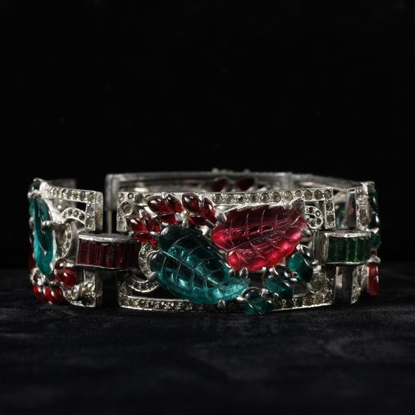 Unmarked Art Deco Bracelet with Molded Red & Green Glass Leaves and fruit salad type jewels.