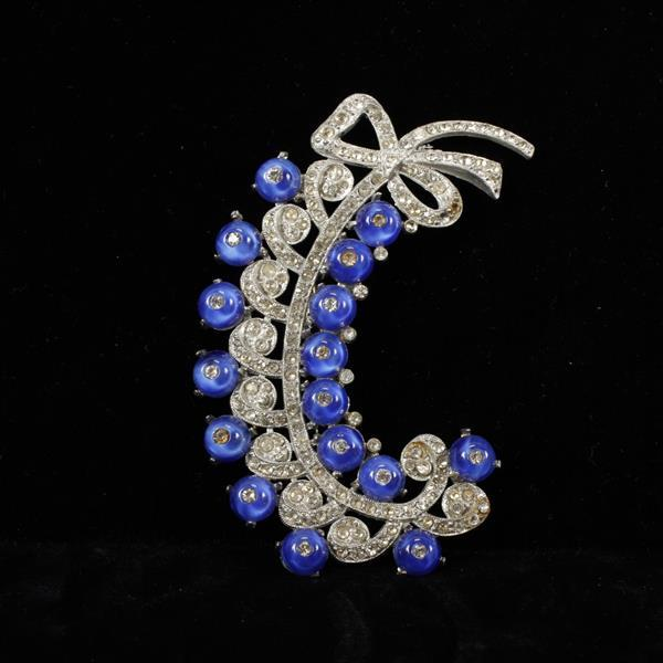 GIANT French? Art Deco Pave Feather Bow Spray Brooch Pin with Blue Opalescent Poured Glass stones.