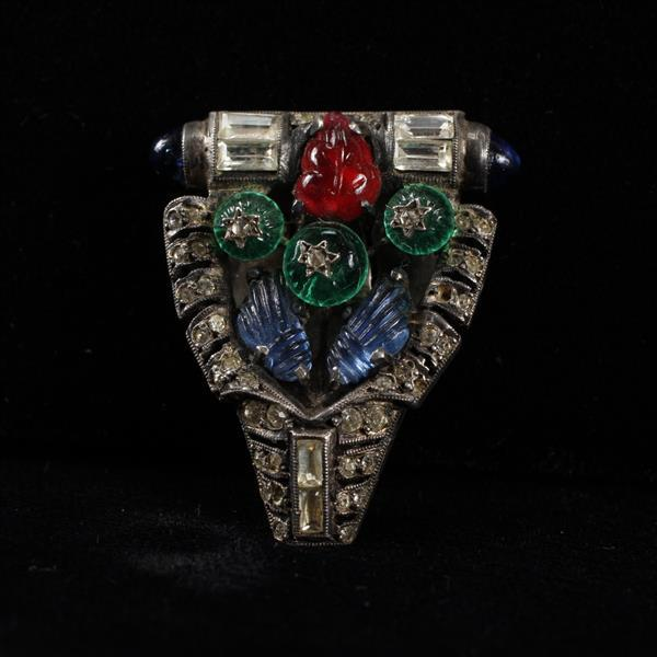 French Paste Art Deco Sterling Silver Jeweled Red Green Blue Clip; Molded Poured Glass leaves and flowers with Diamante Rhinestones.