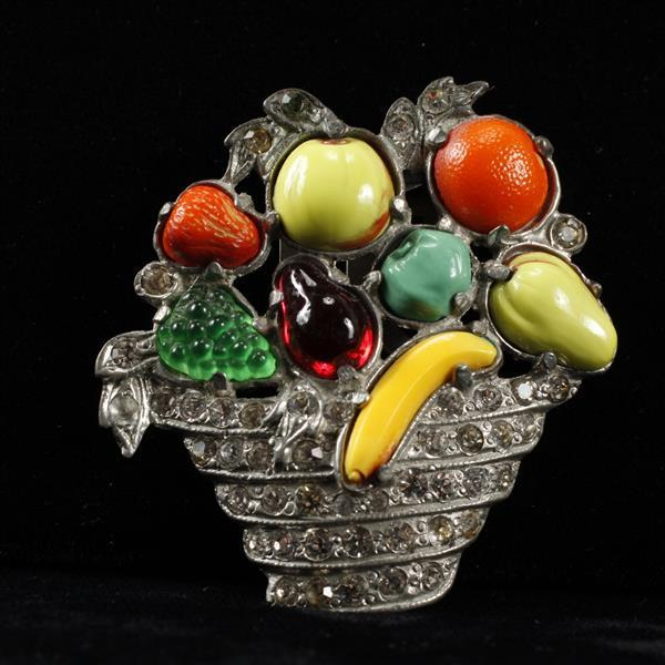 Early Unmarked Art Deco Pave & Poured Glass Fruit Basket Brooch Clip
