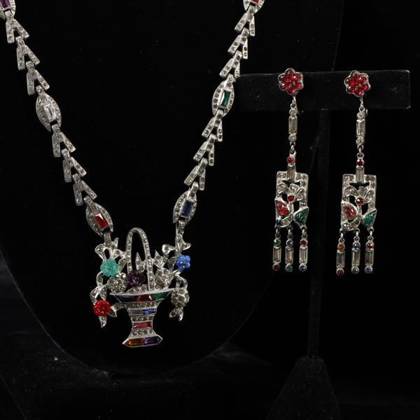 Early Art Deco 2pc.; Jeweled Diamante Flower Basket Necklace and Floral earrings with Multi Color Red Blue Green Poured Glass Leaves...