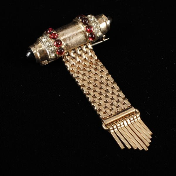 Kreisler Retro Art Deco Gilt Woven Brooch Pin with red poured glass cabochons, black onyx, & rhinestones.