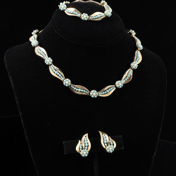 Trifari 3pc. Turquoise Blue Cab & Faux Pearl Floral Gilt Metal Necklace, Bracelet, & Clip Earrings