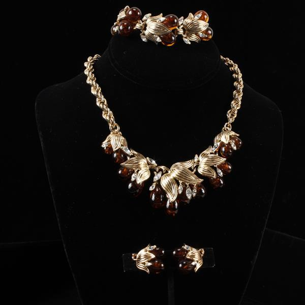 Trifari 3pc. Set; Gilt Metal Leaves & Amber Glass Jelly Fruit with clear stones. Necklace, Bracelet, & Clip Earrings