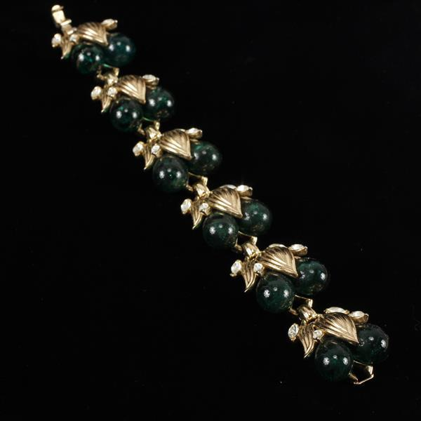 Trifari Green Glass Jelly Fruit & Gilt Metal with Clear Crystal Stones Bracelet