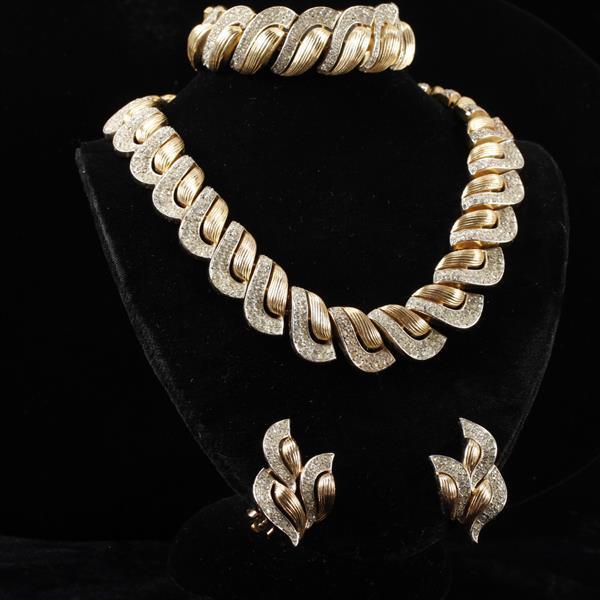 Crown Trifari 3pc. Retro Set; Gold Tone & Clear Pave Rhinestone Necklace, Bracelet, & Clip Earrings