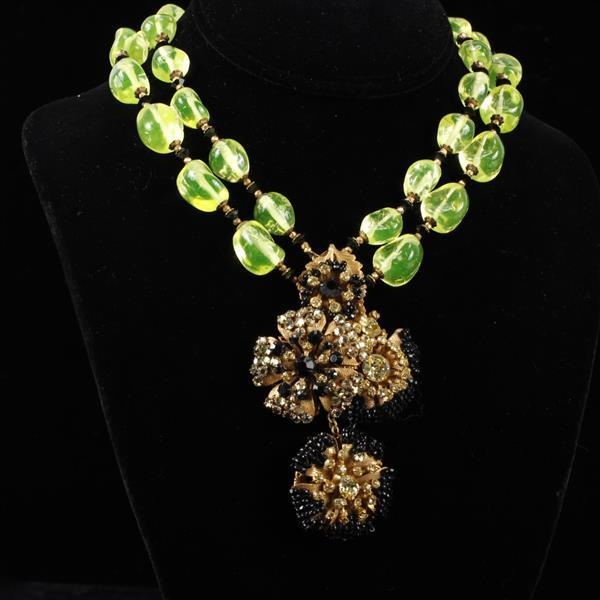 Miriam Haskell Bright Green Vaseline Glass Beaded Necklace with Gilt Flowers
