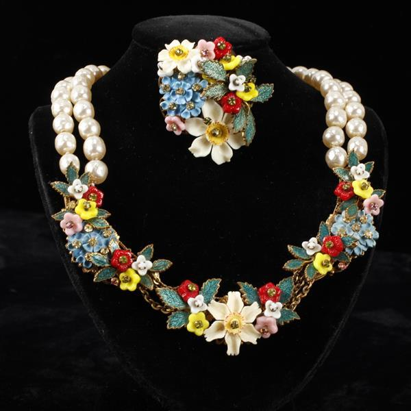 Miriam Haskell 2pc. Polychrome Floral & Faux Pearl Necklace & brooch pin with Carved Bone Flowers.