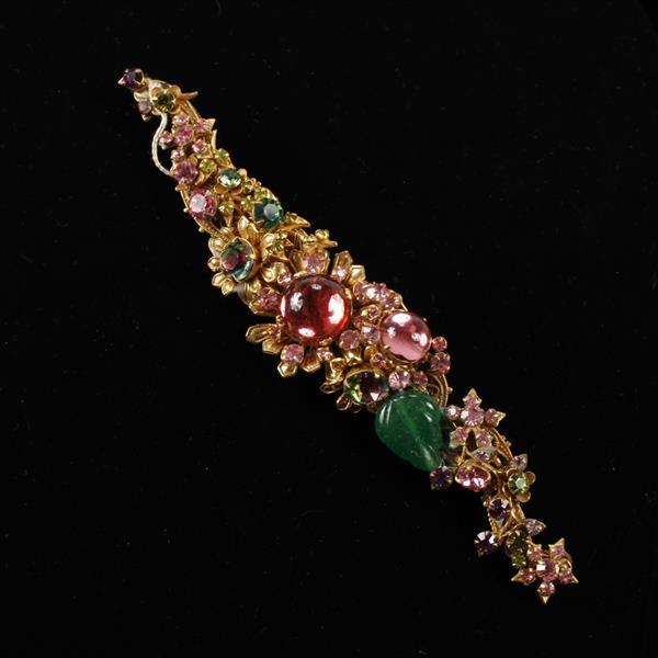 HUGE Miriam Haskell Gilt Gold Tone Floral Filigree Brooch Pin with rhinestone & jelly cabochons. Horseshoe mark on back.