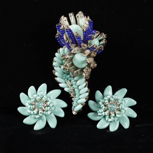 Miriam Haskell 2pc. Teal Blue Glass Beaded Brooch Pin & Clip Earrings