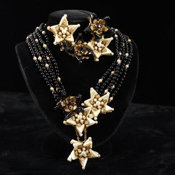 Miriam Haskell 2pc. Set; Faux Pearl & Black Beaded Multi-Strand Star Necklace & Brooch Pin. Horseshoe mark on back of brooch.