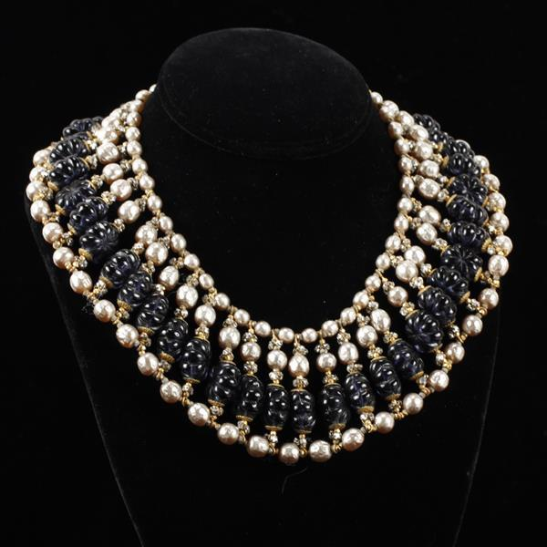 Miriam Haskell Faux Pearl Collar Necklace with Navy Blue Glass Beads