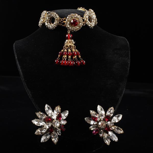Miriam Haskell 2pc. Bracelet & Clip Earrings;