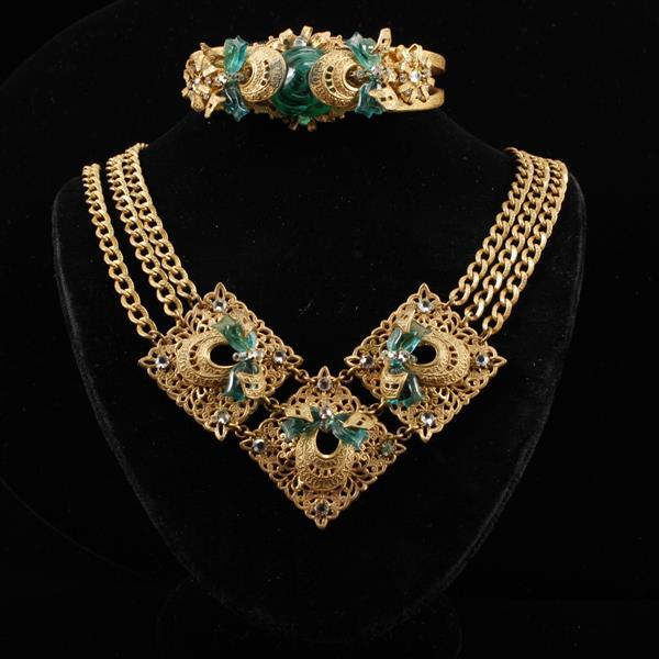 Miriam Haskell 2 pc set; Necklace & Bracelet with green poured glass