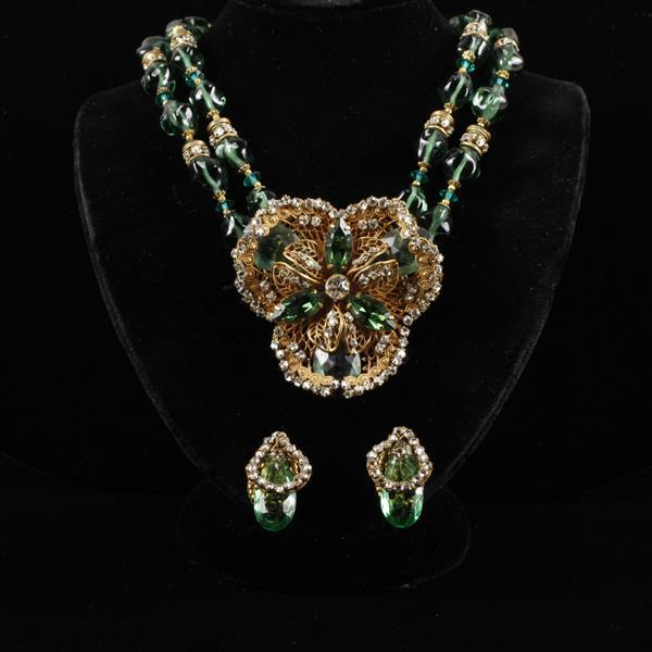 Miriam Haskell 2pc; Necklace & Clip Earrings