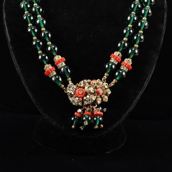 Miriam Haskell Green Double-strand Necklace