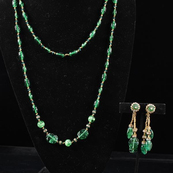 Miriam Haskell 2pc. Green Necklace & Clip Earrings