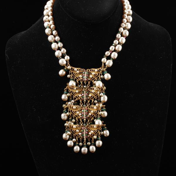 Miriam Haskell Art Nouveau Inspired Chandelier Necklace with Faux Pearls