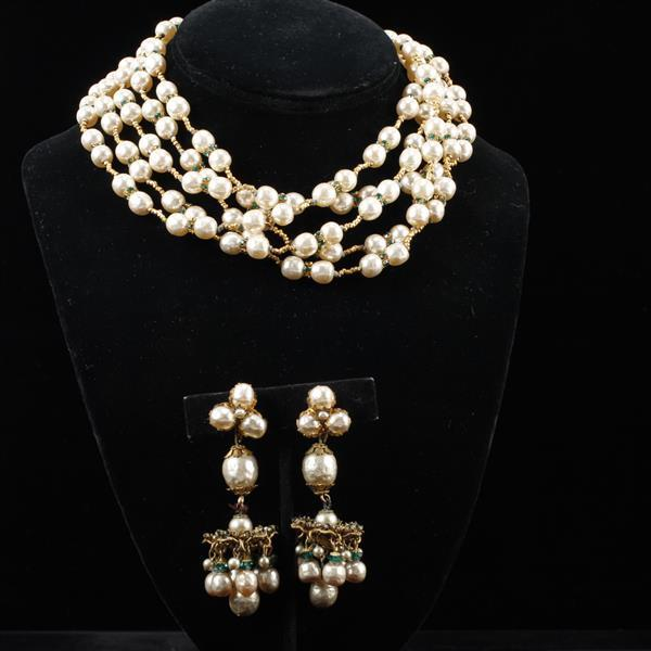 Miriam Haskell 2pc Faux Pearl Necklace & Clip Chandelier Earrings